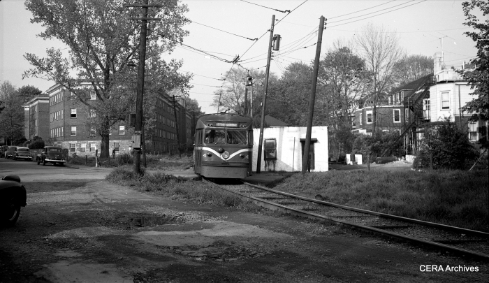 Brilliner 4 at speed on single-track private right-of-way leaving Ardmore in the 1950s. (Photo by Richard H. Young)