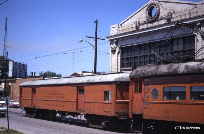 "Baggage car 504 at Michigan City in June 1967. According to Don's Rail Photos, it was ""built by St. Louis Car in 1926 as Indiana Service Corp 377."" It was purchased by the South Shore in 1941 from the Indiana Railroad. (Photographer Unknown)"
