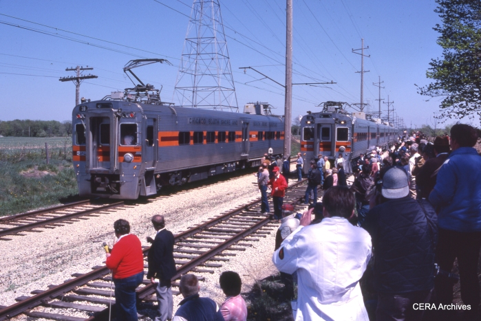 The new South Shore cars on a CERA fantrip, April 28, 1985. (Photo by David Sadowski)