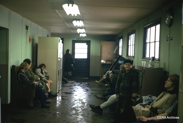 The waiting room at the East Chicago station in January 1970. (Photographer Unknown)