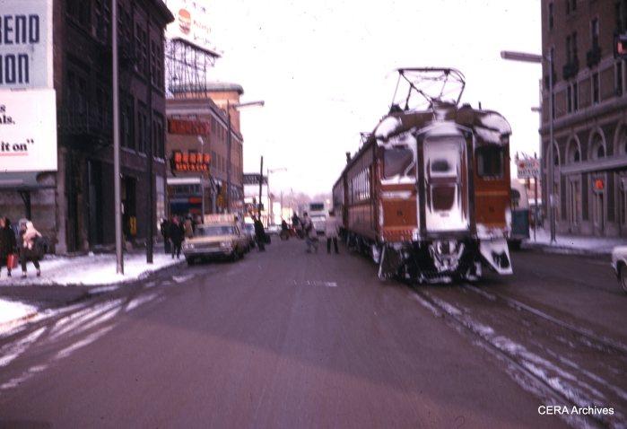 A two-car train at South Bend station in February 1969. In September 1970, the line was cut back to Bendix at the outskirts of town, but it has since been extended to the South Bend airport. (Photographer Unknown)