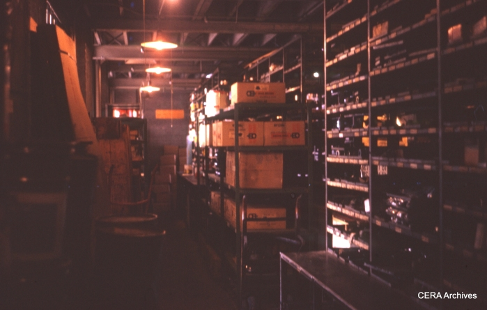 The stock room at the shops in January 1970. (Photographer Unknown)