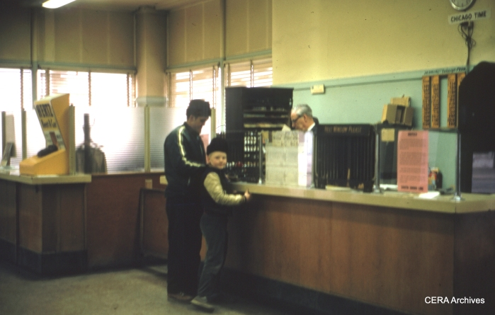 This may be the downtown South Bend station interior, April 1970. (Photographer Unknown)
