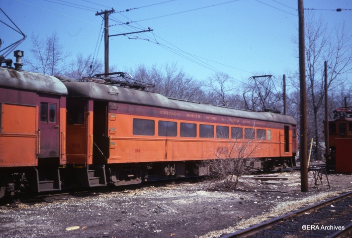 "According to Don's Rail Photos: ""104 was builtt by Pullman in 1926. It was lengthened in 1943. Air conditioning and picture windows came in 1950."" Here we see the car in June 1975. (Photographer Unknown)"