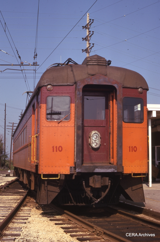 """Don's Rail Photos says, """"110 was built by Standard in 1929 as coach 10. It was rebuilt into 110 in 1951."""" Here we see it on September 1, 1973. (Photographer Unknown)"""
