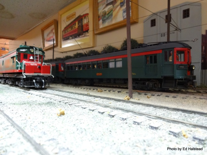 "That is my NSL 256 speeding by Dan's 458. The NSL 256 started life as a Clouser epoxy body and was completed and finished by me. It's normally operated in a 2-car train with NSL 772 as a ""Milwaukee Limited"". My NSL 772 started out as an All Nation imported brass body."