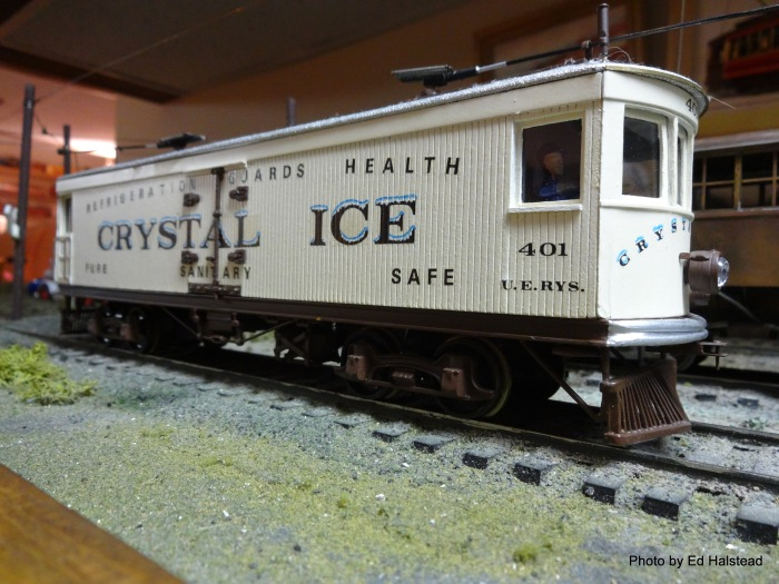 The absolutely beautiful scratch built ice car was built by Don Idarius. It is now owned by his son Kevin. This is a model you cannot get enough of. In making the model Don even had the graphics made as an individual special order decal. Anyone for some ice cubes?