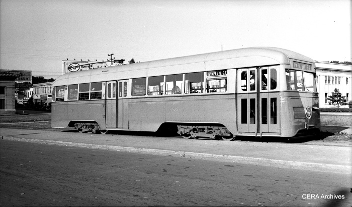 In 1935, Capital Transit ordered 20 modern pre-PCC streetcars, splitting the order between Brill and the St. Louis Car Company. Car 1006, shown here when new, was a Brill product. The Brills had riveted sides, while the St. Louies had fluted sides. (Photographer unknown)