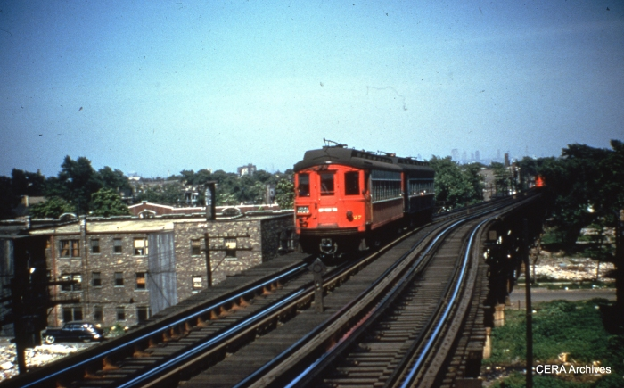 "CA&E 427 is a Wheaton Local heading west on the Garfield Park ""L"" sometime before downtown service ended in September 1953. (Photographer unknown)"