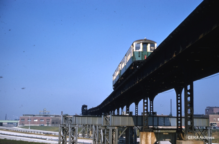 A two-car train of 4000s crosses the Congress (now Eisenhower) expressway at Kostner in August 1956. (Photographer unknown)