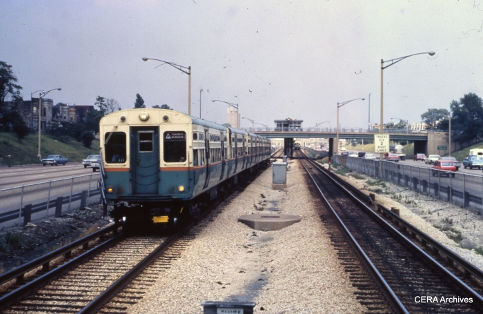 CTA 6566 heads up a train westbound at Kostner on the Congress line on August 7, 1967. (Photographer unknown)