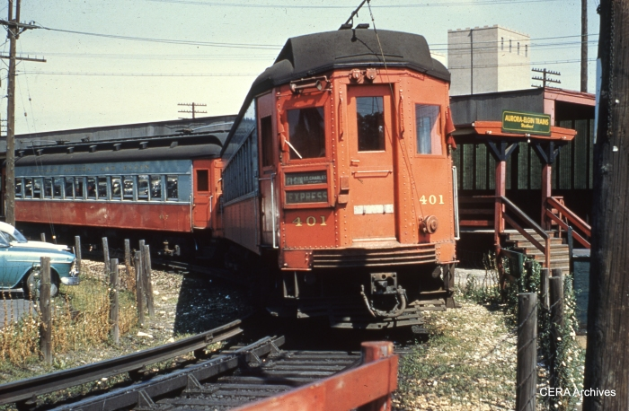 CA&E trains turned around at DesPlaines Avenue on a turnback loop from 1953-57. (Photo by W. Fred Stone)