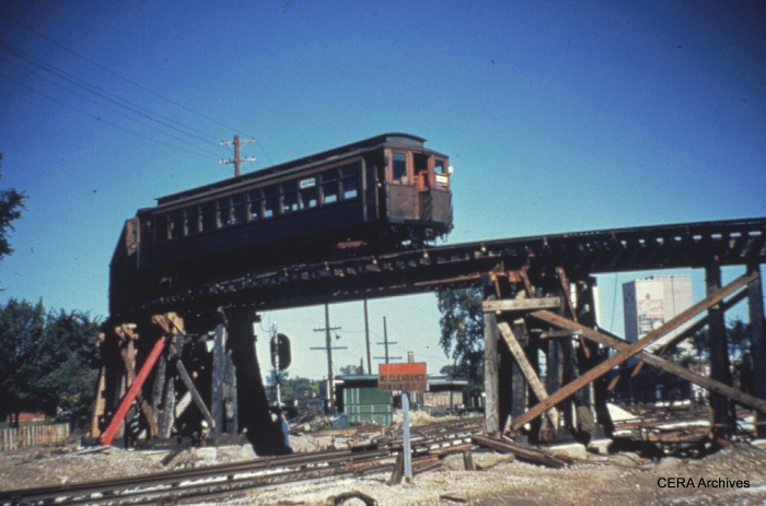 CTA and CA&E used grade-separated turnback loops at DesPlaines Avenue from 1953-57. (Photographer unknown)