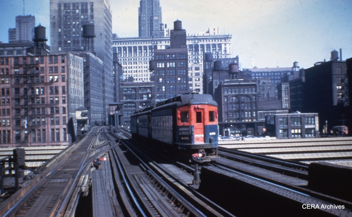 CA&E car 408 is at the rear of an eastbound Chicago Limited, approaching the Loop, sometime before the end of service in September 1953. (Photographer unknown)