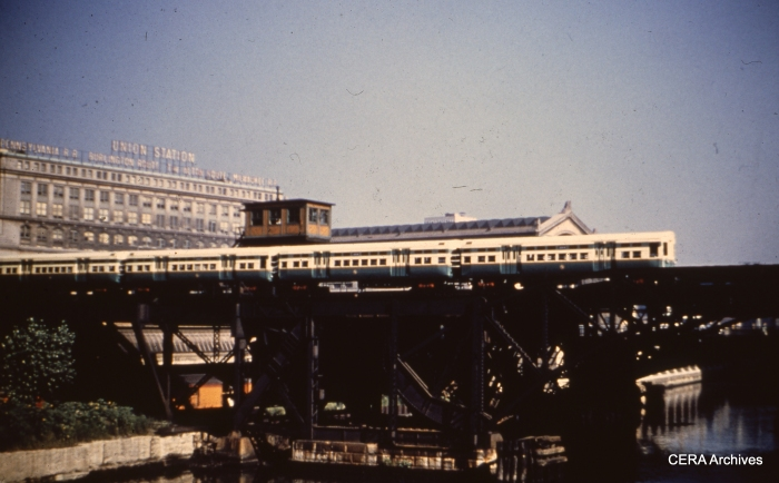 CTA flat-door 6000s cross the Chicago River near Union Station. (Photographer unknown)