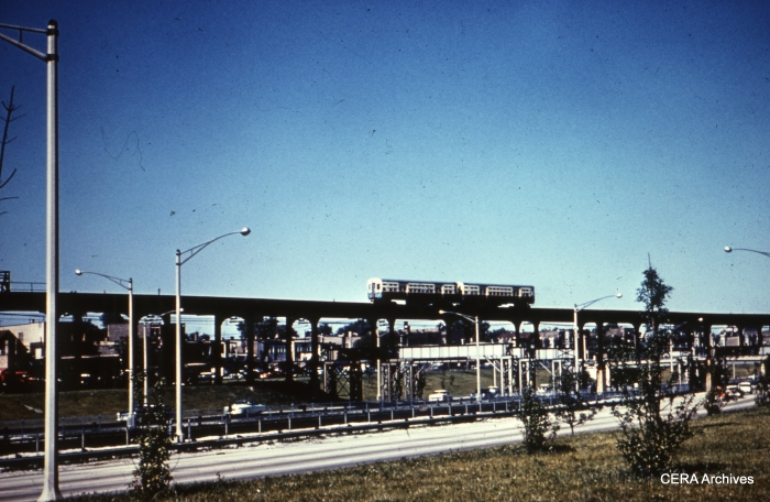"This would appear to be another view of where the Garfield ""L"" crossed the Congress expressway at Kostner. (Photographer unknown)"