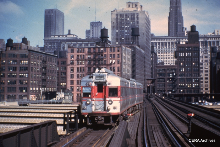 "A CTA articulated ""doodlebug"" from the original 5000-series crosses the Union Station trainshed, probably in the late 1940s. (Photographer unknown)"