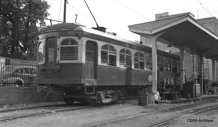 Texas Electric interurban 317 in Dallas on August 15, 1941. (Photographer unknown)
