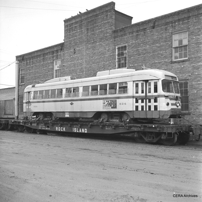 Dallas Railway & Terminal 624 on a flatcar in Dallas, awaiting shipment to Boston, October 1958. (Photographer unknown)