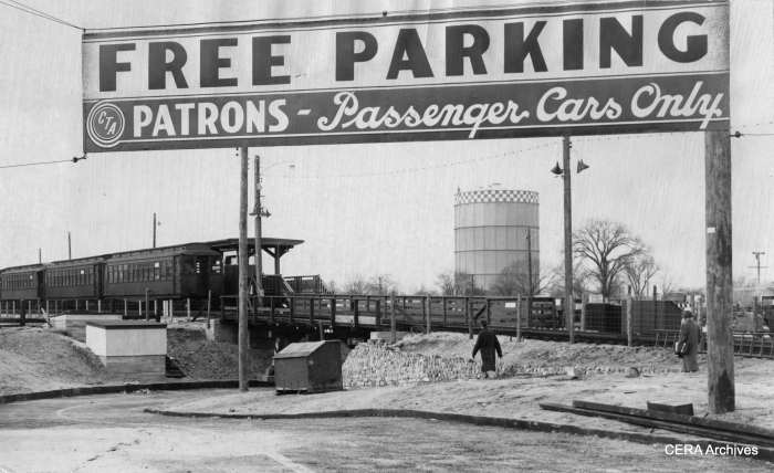 "The CTA opened a free ""park'n'ride"" lot at DesPlaines Avenue on December 15, 1953. The large gas tank in the background was a Forest Park landmark for years. (Photographer unknown)"