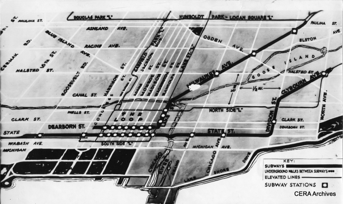 The public was somewhat baffled when Phase 1 of the City's subway plan was approved by the PWA in 1938. The Dearborn-Milwaukee subway simply ended at Dearborn and Congress, with no explanation of where it should continue. However, it was always intended to connect to a west side median line in the middle of the Congress Expressway. Work on the Dearborn-Milwaukee tube was 80% completed when work halted in 1942 due to the war. But construction work west on Congress did not begin until after the war. Plans originally called for an underground turning loop at LaSalle, but CTA decided a stub-end terminal was sufficient in 1947. This is where service ended from 1951-58. (Photographer unknown)