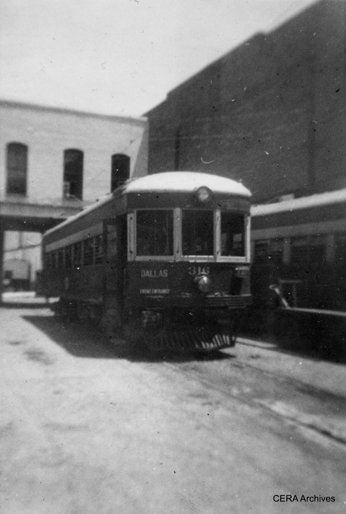 "Texas Electric Railway car 316 at Waco. On the back of this print, someone wrote, ""I rode one of these once to Dallas. They're old, but can they travel!"" (Photographer unknown)"
