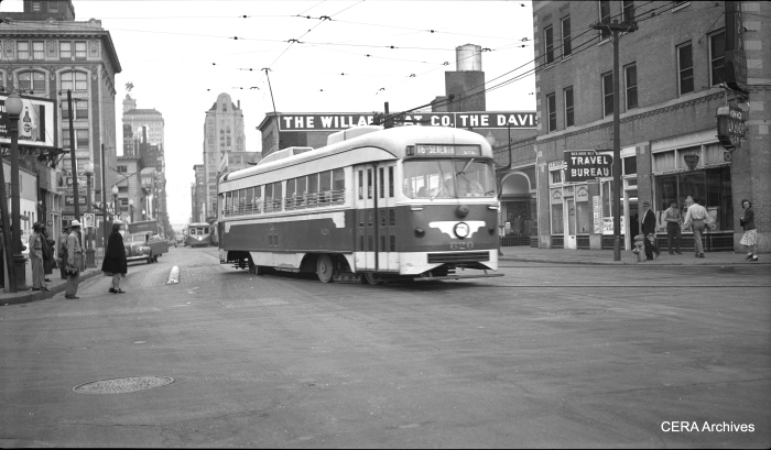 May 10, 1946 - New Dallas Railway & Terminal Co. double-end PCC car 620, at speed, southbound, turning into Record St. from Commerce St. (Ervay-7th Line). (Photo by Richard H. Young)
