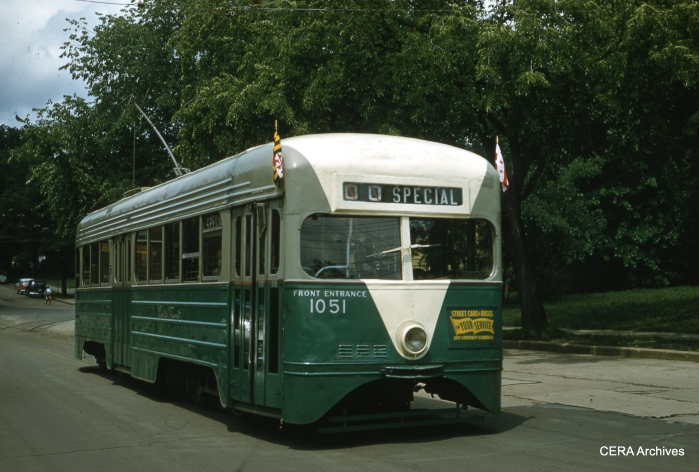 Capital Transit 1051, a pre-PCC car built by St. Louis Car Co. in 1935, is shown at the end of the Takoma Line (Butternut & 4th St. NW) on a fantrip on June 3, 1956. (Photographer unknown)