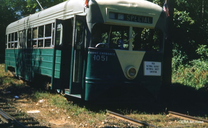 Car 1051 on a NRHS fantrip on September 4, 1954. (Photographer unknown)
