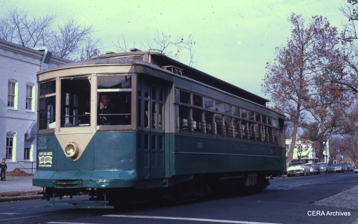 Capital Transit 766, a 1918 deck-roof standard car, is seen at 14-E Capitol on December 2, 1961. This car is now preserved at the National Capital Trolley Museum in Colesville MD. (Photographer unknown)