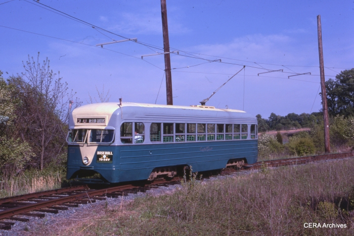 ex-DC Transit 1053 at the National Capital Trolley Museum on May 5, 1985. Unfortunately, this rare pre-PCC car was destroyed in a fire on September 28, 2003. (Photo by Ray DeGroote)