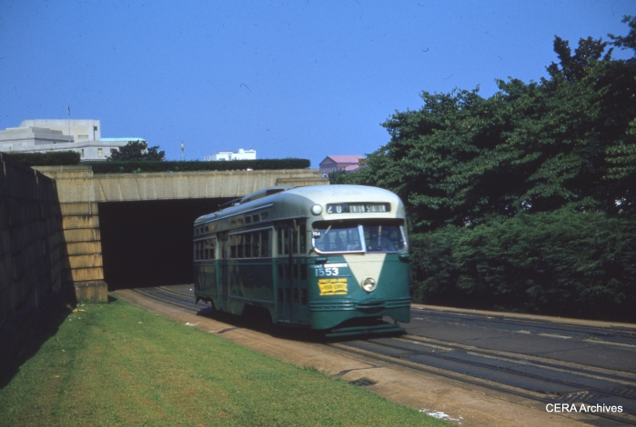 PCC 1553 on route 20 on August 16, 1959. (Photographer unknown)