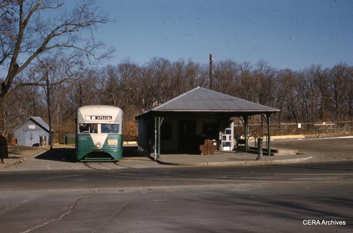 Dc Transit 1053 at Calvert Street Loop on December 15, 1961. (Photographer unknown)