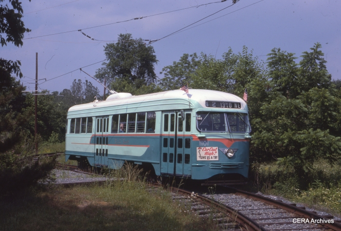 PCC 1101 at the National Capital Trolley Museum on June 14, 1987. (Photo by Ray DeGroote)