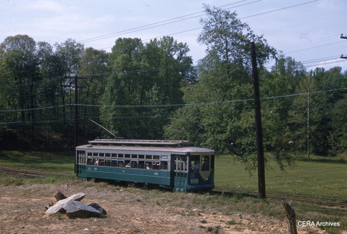DC Transit 766 under wire on April 28, 1957. (Photographer unknown)