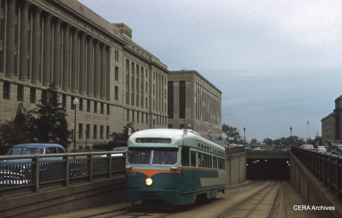DC Transit 1489 is on Route 50, leaving the Bureau of Engraving tunnel (headed to 14th and Colorado), on October 22, 1961. (Photographer unknown)