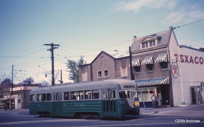 DC Transit 1053 at 2-Upshur NW on November 8, 1959. The car is facing east. (Photographer unknown)