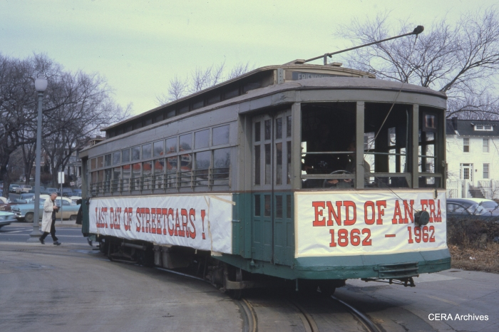 Car 766 at Barney Circle (Pennsylvania Ave and 17 St. SE) on the last day, January 27, 1962. (Photographer unknown)