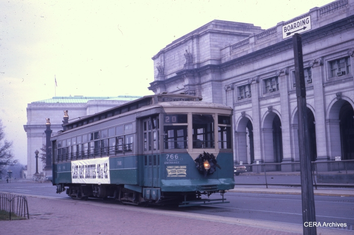 DCT 766 at Union Station on December 2, 1961, the last day for routes 40 and 42. (Photographer unknown)