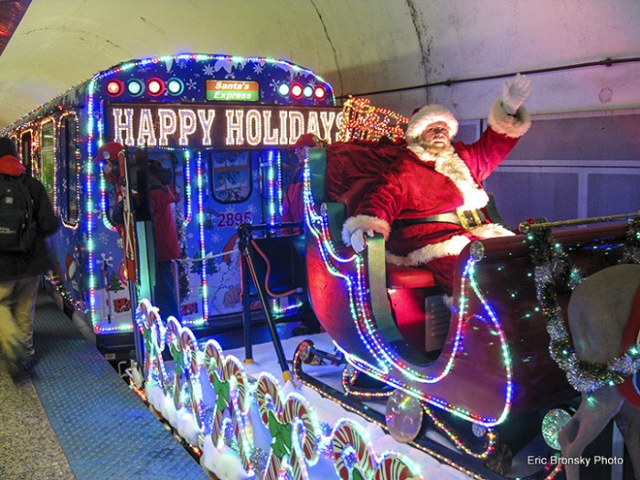 The CTA Holiday Train southbound at Chicago Avenue on December 17, 2013. (Photo by Eric Bronsky)