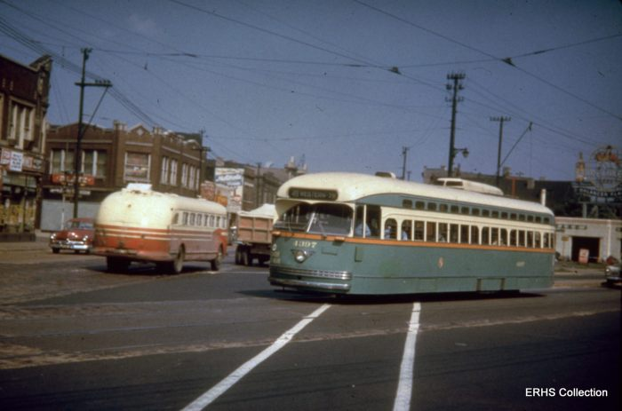 Gibson306: This is a #49 Western heading south, but where? The angle street must be a clue. (Photo by Bob Gibson, ERHS Archive)