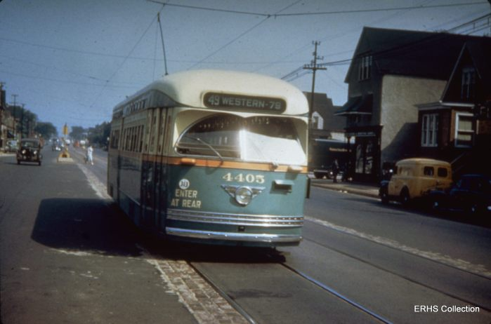 Gibson307: This is a #49 Western heading south, but where? (Photo by Bob Gibson, ERHS Archive)