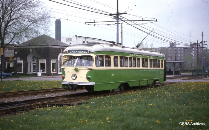 Illinois Terminal car 451 is shown in service in Cleveland in the late 1970s. It was pressed into service due to a car shortage. (Photographer unknown, CERA Archives)