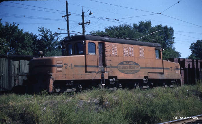 "IT loco 74 at Edwardsville on September 6, 1953. According to Don's Rail Photos, it was ""sold for scrap to Compressed Steel Co on March 27, 1956."" (Photographer unknown - CERA Archives)"