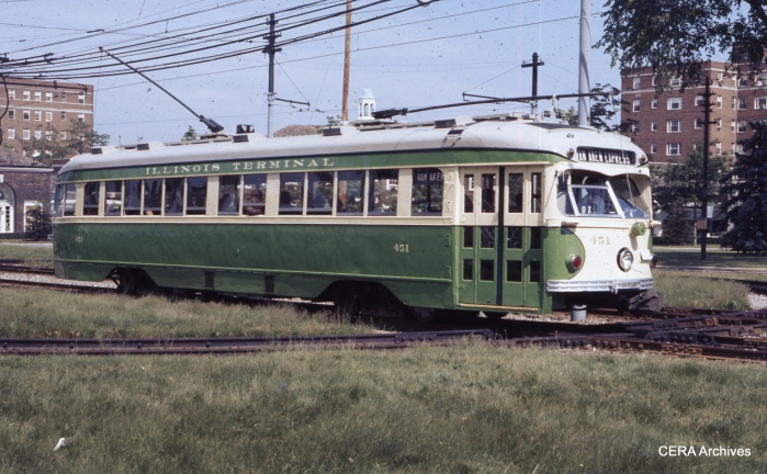 "IT 451 at Shaker Square on May 30, 1976. Cars 450 and 451 were ""on loan"" to the Shaker Heights Rapid Transit due to a car shortage. (Photographer unknown - CERA Archives)"