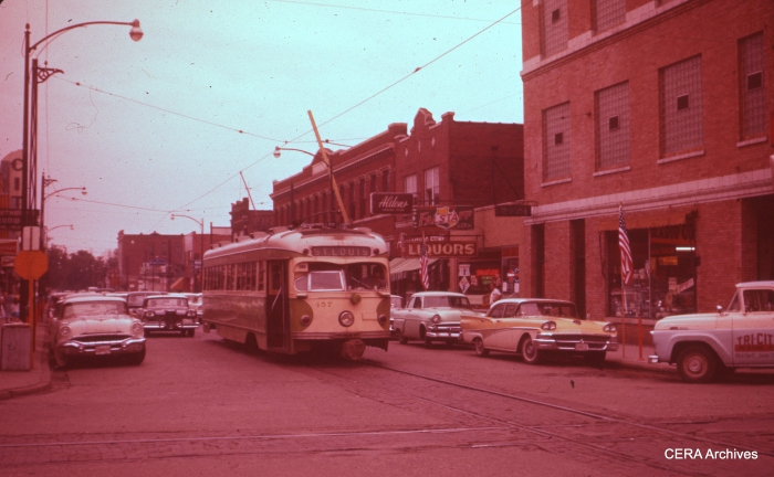 IT 457 is St. Louis-bound in this late 1950s view in Granite City. It couldn't be any earlier than September 1957, since there is a 1958 Edsel in view. (Photographer unknown - CERA Archives)