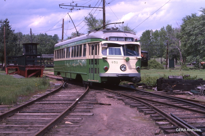"IT 451 at the Connecticut Trolley Museum (sometimes referred to as ""Warehouse Point"") in June 1979. (Photographer unknown - CERA Archives)"