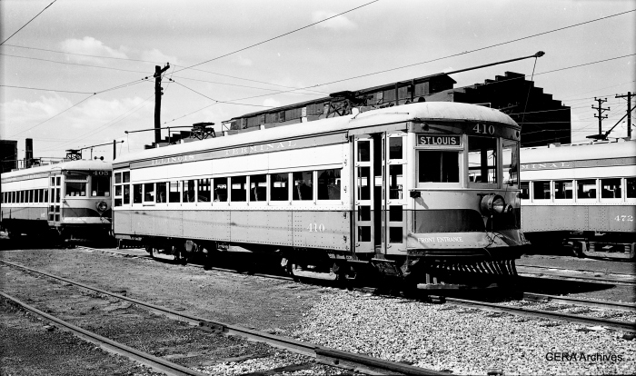 IT streetcar 410, built by St Louis Car Co. in 1924 as order #1324, a sister car to 415, now preserved at the Illinois Railway Museum. (Photographer unknown - CERA Archives)