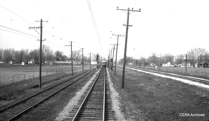 A passing siding along the IT interurban right-of-way. (Photographer unknown - CERA Archives)