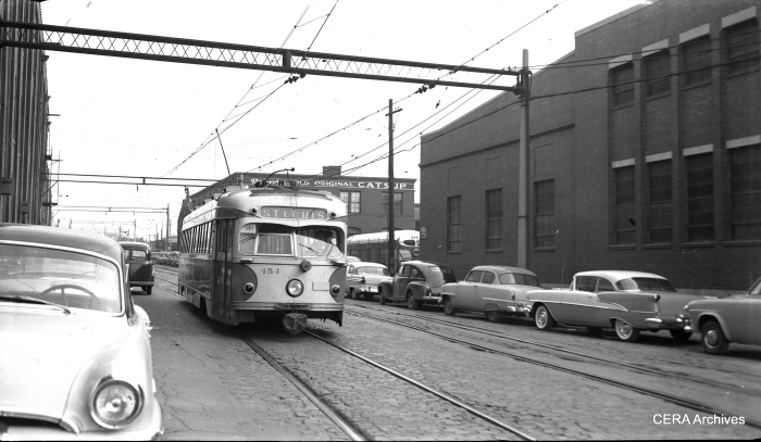 IT 454 north of the subway entrance in St. Louis, Missouri on March 1, 1956. (Photographer unknown - CERA Archives)